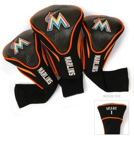 Team Golf MLB Miami Marlins Contour Golf Club Headcovers (3 Count), Numbered 1, 3, & X, Fits Oversized Drivers, Utility, Rescue & Fairway Clubs, Velour lined for Extra Club ()