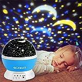 Glückluz Proyector Lampara de Estrellas de 360 Grados Romántica Cosmos Luna de Luz Nocturna Dormitorio para Niños Bebés Regalos de la Navidad los Amantes Lámpara de Proyección [Clase de eficiencia energética A+++] (Azul)