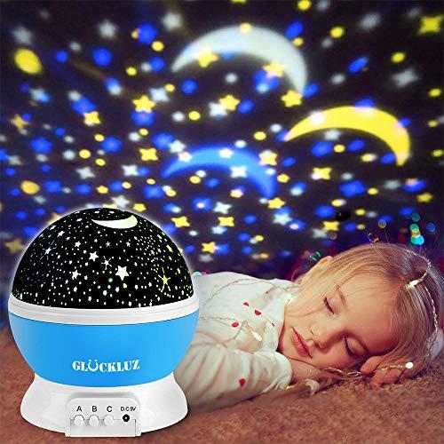 Glückluz Proyector Lampara de Estrellas de 360 Grados Romántica Cosmos Luna de Luz Nocturna...
