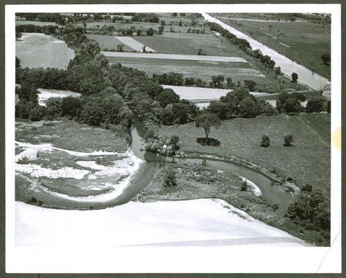Farm & barge canal upstate NY aerial photo 1950s (Upstate Farm)