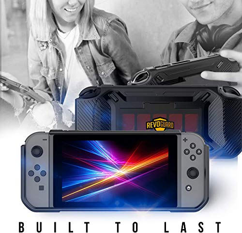 RevoGuard Slim Heavy Duty Switch Case [Stores 5 Games] Compact Multi Angle Holder Play Stand for Nintendo Switch 5