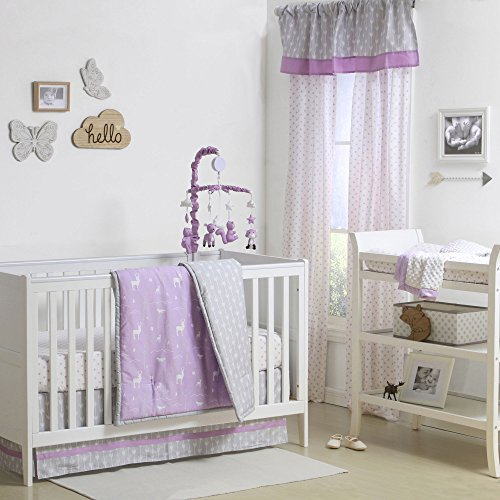 Hello Deer Purple and Grey Woodland Crib Bedding - 20 Piece Nursery Essentials Set