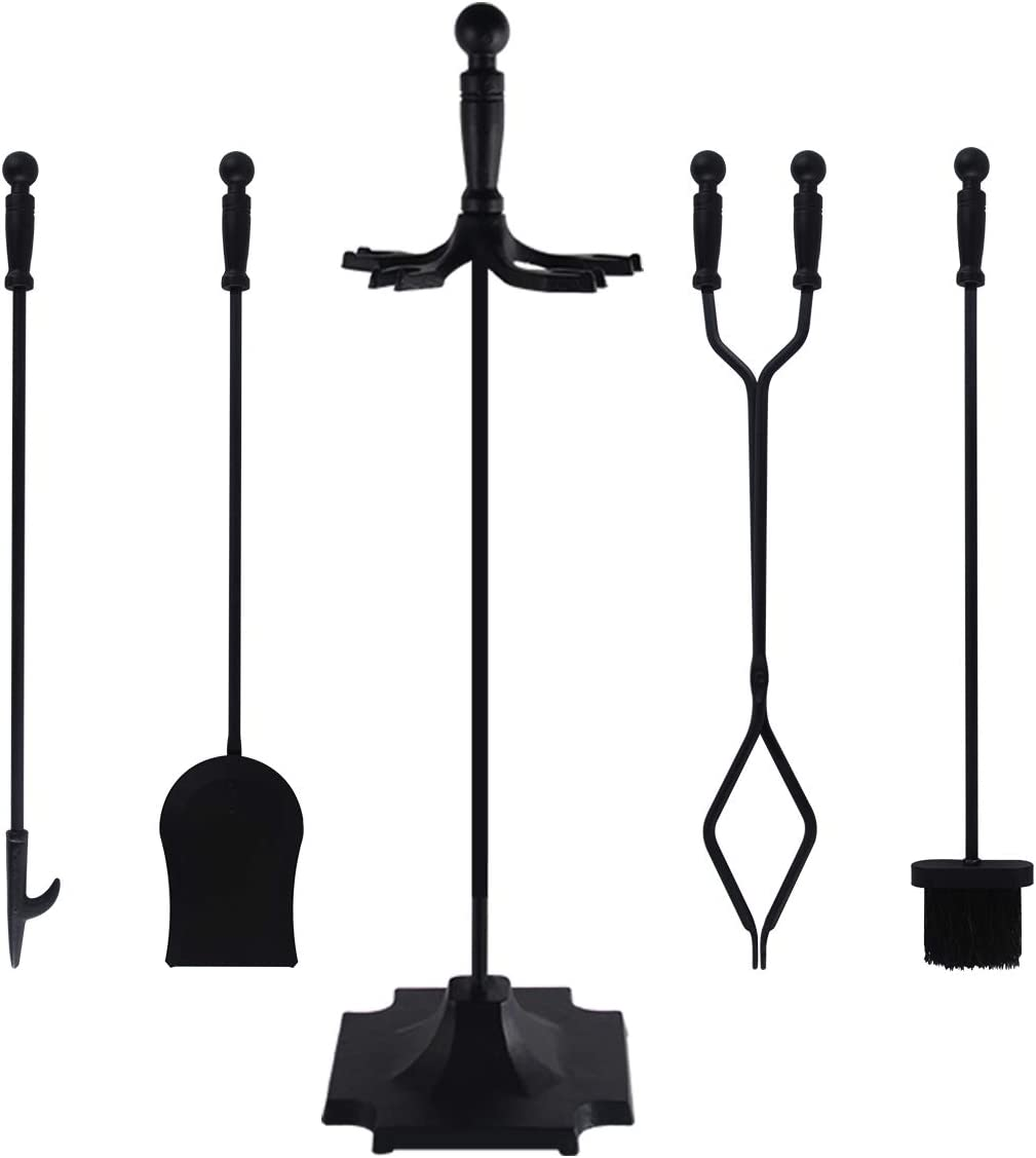 8 PCS Fireplace Tools Set Wrought Iron Fire Place Accessories Tools Holder  with Handles Tools for Indoor Fireplace Decor Outdoor Fire Pit Modern Tool