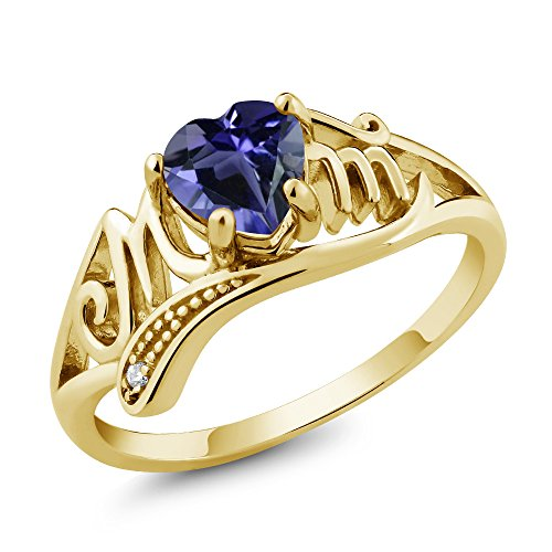 Gem Stone King 0.59 Ct Heart Shape Blue Iolite 18K Yellow Gold Plated Silver Ring (Size 7)