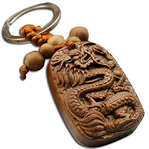 Duojimi Car Key Pendant rosewood inlay ceramic twelve zodiac gift Dragon (Pear (Ceramic Zodiac)