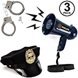 Tigerdoe Police Costume Accessories - 3 Pc Set - Police Hat, Megaphone & Handcuffs - Police Toys - Role Play Sets for Kids