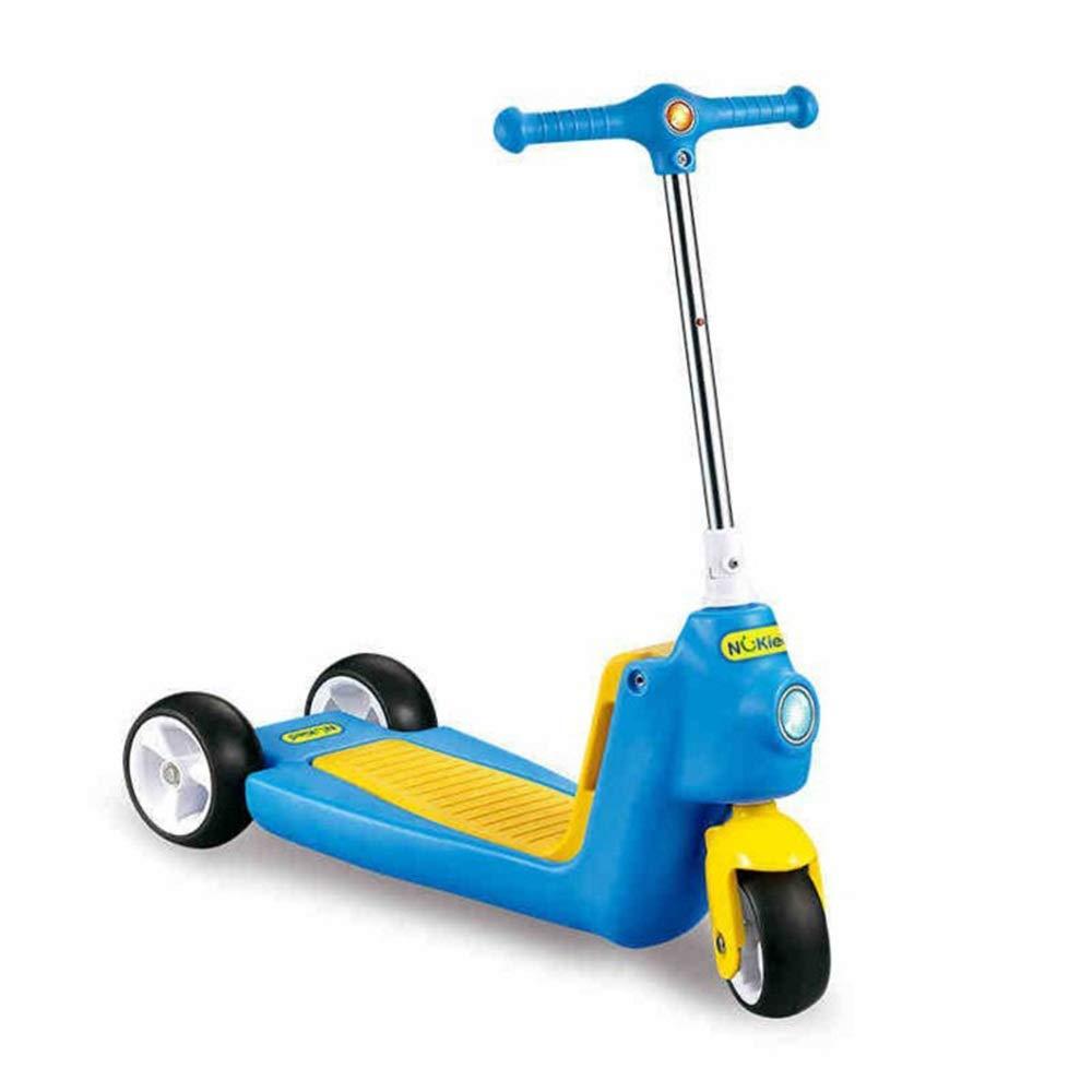 GSHFDS Monopattini Scooter per Bambini 3 Ruote T-Bar Regolabile Altezza Maniglia Kick Scooter con Ruote aliante per Bambini da 5 a 14 Anni ( Colore   Blu )