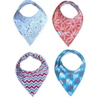 Baby Bandana Drool Bibs for Boys and Girls,Modern baby gift set, 4-pack ORGANIC Cotton bibs with Adjustable Snaps by DEEORGANICS