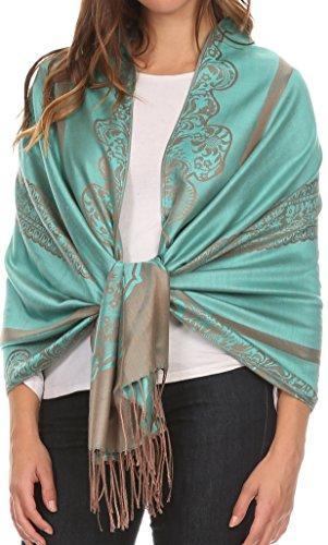 Sakkas 16116 - Maela Long Extra Wide Traditional Patterned Fringe Pashmina Shawl / Scarve - Turq / Grey - OS