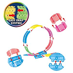Mini Tudou Magic Flexible Tracks with 2 Cars Glow in Dark 360 Degree Loop Race Track Toy with Bridge for Toddlers Kids Boys (149PCS)