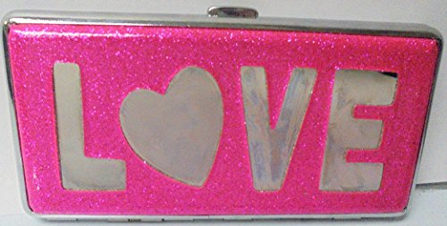 Love Cigarette Case - 1 Eclipse Love Design Pink Glitter Cigarette Case With Mirror, Fits 120's Cigarettes, Can hold 14 Cigarettes