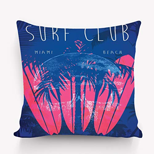 zexuandiy Decor Throw Pillow Cushion Cover, Decorative Square Accent Pillow Case, 18 X 18 inches Illustration Theme surf Club Miami Grunge backgrou]()