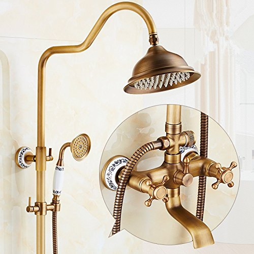 bluee and White Porcelain Seven Pass X-shower All Copper Retro Shower Shower Faucet Set, Hot And Cold Copper Bronze Shower Shower Set,Seven Words And Seven Words For The Lantern