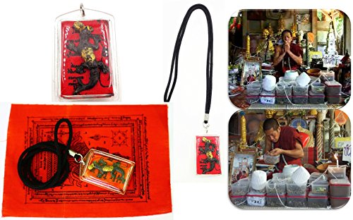 Lizard 2 tails plastic case gambler thai buddha talismans amulet red yant nang-kwak lucky & money