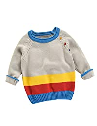 LNGRY Toddler Boys Girls Kids Winter Sweater Knitted Pullovers Warm Coat Clothes