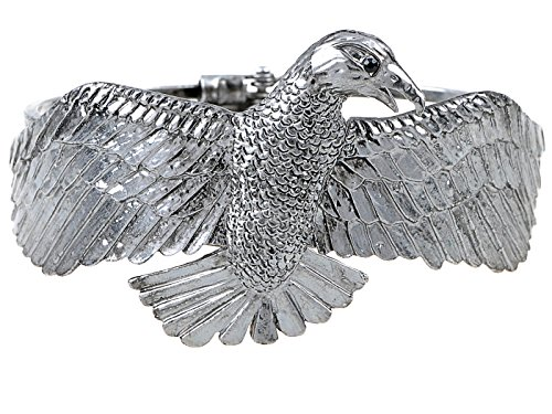 - Alilang Antique Inspired Silvery Tone Soaring Eagle Bird Wing Fashion Bracelet Bangle Cuff