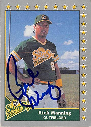 - Rick Manning autographed baseball card 1990 Pacific Senior League #86 (Fort Myers Sun Sox)