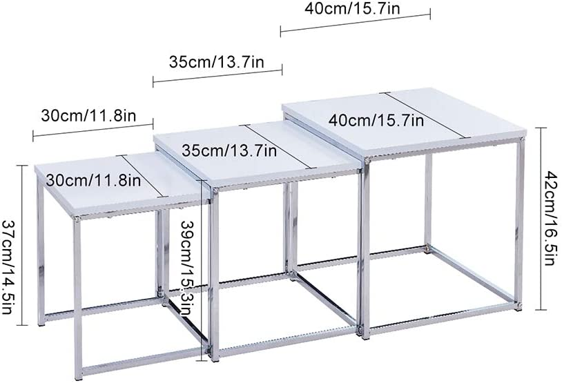 Space Saving Set of 3 Nesting Tables Sofa Side Table Coffee Table End Tables Stylish White Wood Home Furniture BonChoice High Gloss Nest of 3 Tables for Living Room