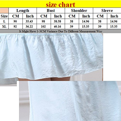 Zhhlaixing Summer Womens Round Neck Nightwear Sleep Skirt Comfortable Pajamas M5652 Sky Blue