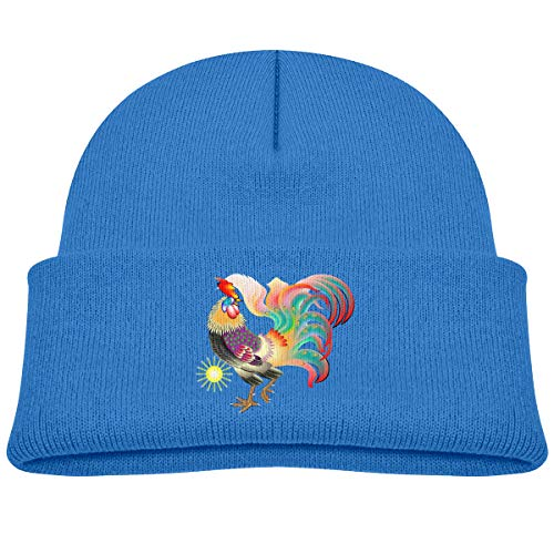 Kids Knitted Beanies Hat Rooster with Color Feather