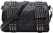 liangdongshop Girls' Cool Skull Pattern PU Leather Handbag Clutch Crossbody Shoulder