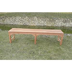 Garden Waiting Bench - 4 Seater - 180cm, Backless, 6 Leg Base - Teak