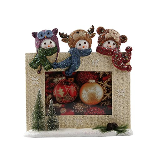 Lee's Home Christmas Knitting Finish Three Snowmen Picture Photo Frame,4x6 Inch