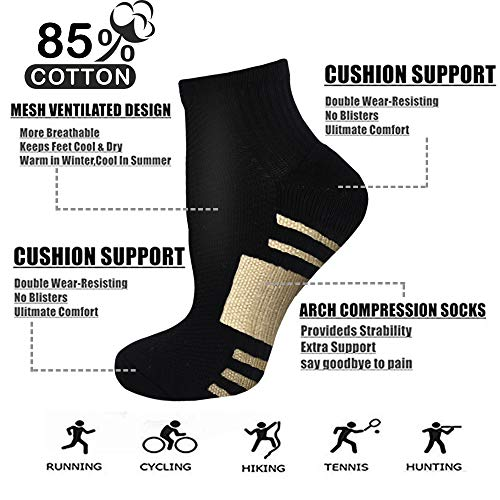 Copper Compression Running Socks For Men /& Women-5//10 Pairs-Fit for Athletic,Travel/& Medical