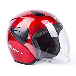 Open Face Motorcycle Helmets Scooter Helmets Flip up Helmets with Shield Red