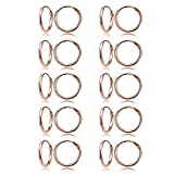 Rose Gold Flashed Sterling Silver Small Endless 10mm Round Unisex Hoop Earrings, Set of 10 Pairs