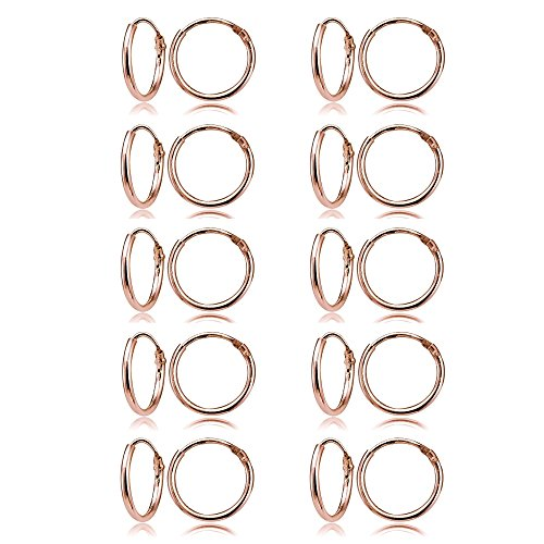 Rose Gold Flashed Sterling Silver Small Endless 10mm Round Unisex Hoop Earrings, Set of 10 Pairs by GemStar USA