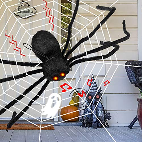Spider Web Lights (D-FantiX Giant Halloween Spider Motion Voice Activated, 4 Feet Large Light Up Spider with Web Realistic Fake Spider Electronic Scary Halloween Decorations Props Indoor Outdoor)