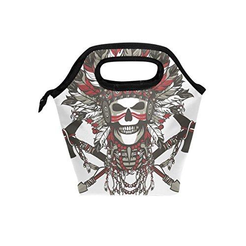 Bolso de mano con cremallera para hombre, mujer, adultos, niños, niñas, diseño de calavera tribal india