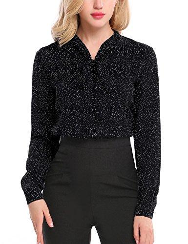 Black polka dot blouse for women professional