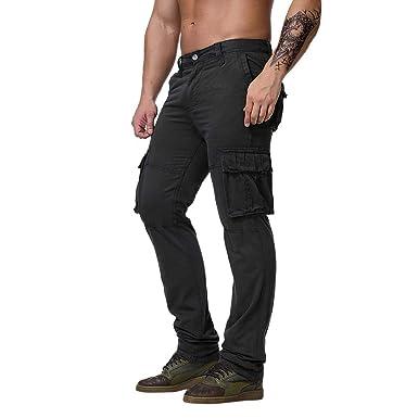 BOBOLover Pantalones Cargo para Hombre con Multibolsillos con ...