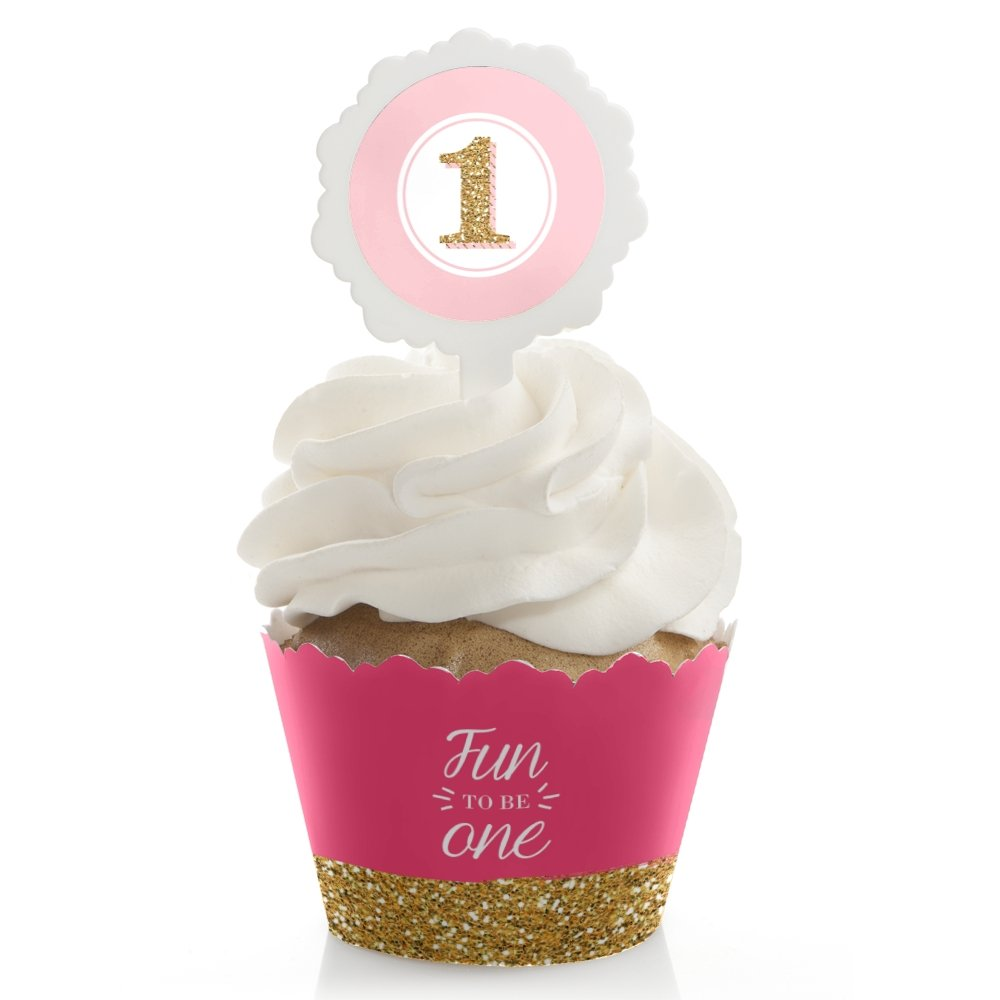 Big Dot of Happiness 1st Birthday Girl - Fun to be One - Birthday Party Cupcake Wrapper and Pick - Cupcake Decorating Kit - Set of 24