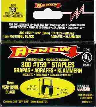 Arrow Fastener 591189BL 5/16'' X 5/16'' Black T59 Staples