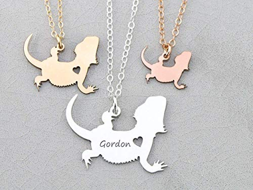 (Bearded Dragon Necklace - IBD - Lizard Gift - Mother of Dragons - Personalize Name - Pendant Size Options - 935 Sterling Silver 14K Rose Gold Filled - Fast 1 Day Production)