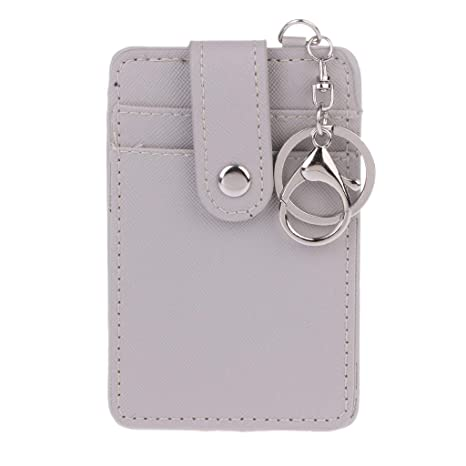 Wodwad Portable ID Card Holder Bus Cards Cover Case with Keychain Keyring Tool (Gray)