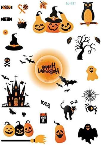 Halloween Tatto Sticker for Women & Men, Halloween Theme Waterproof Environmental Horror Grimace Funny Tattoo Stickers (A)