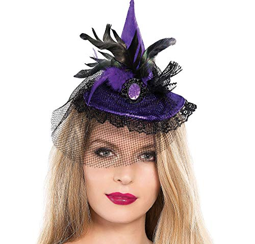 Witch Taffeta - Suit Yourself Mini Purple Witch Hat for Adults, Purple Taffeta Hat with 2 Rosettes, Black Feathers, a Veil, and a Comb