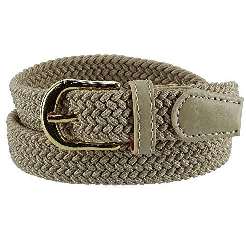 CTM Women's Elastic Braided Stretch Belt, Large, Beige