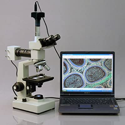 AmScope ME300TZB-2L-3M Digital Episcopic and Diascopic Trinocular Metallurgical Microscope, WF10x and WF20x Eyepieces, 40X-2000X Magnification, Halogen Illumination with Rheostat, Double-Layer Mechanical Stage, Sliding Head, High-Resolution Optics, Includ