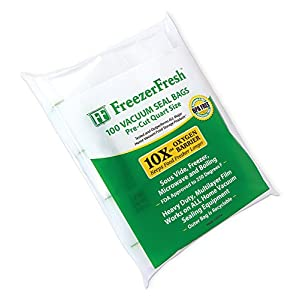 100 Pack – Freezer Fresh vacuum Seal Bags Quart Size Commercial Grade