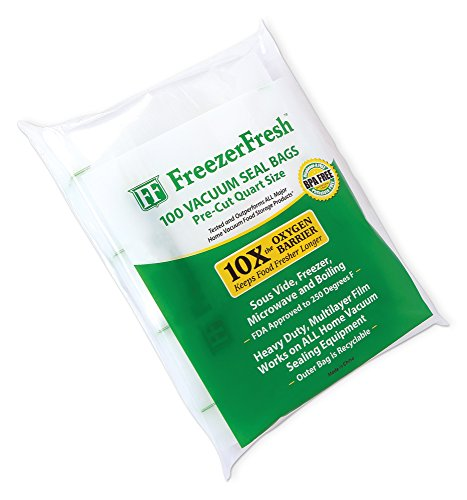 100 Pack – Freezer Fresh Quart Size Commercial Grade Vacuum Seal Individual Bags. Food Storage Bags Compatible with FoodSaver, Sous Vide and (Vacuum Seal Freezer Bags)