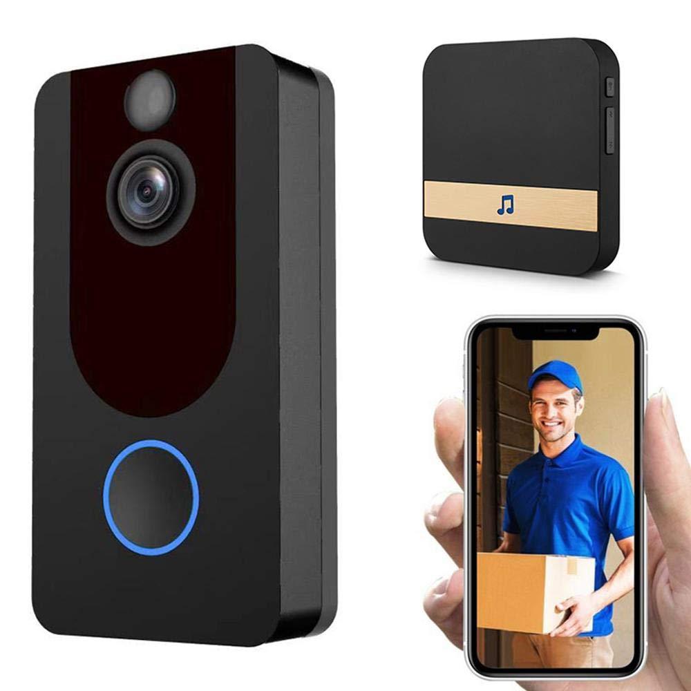 1080P Impermeable Timbre con Video WiFi con Video Remoto En Tiempo Real Y Conversaci/ón Bidireccional DokFin Videoportero Inteligente con C/ámara Detecci/ón De Movimiento PIR para iOS Y Android