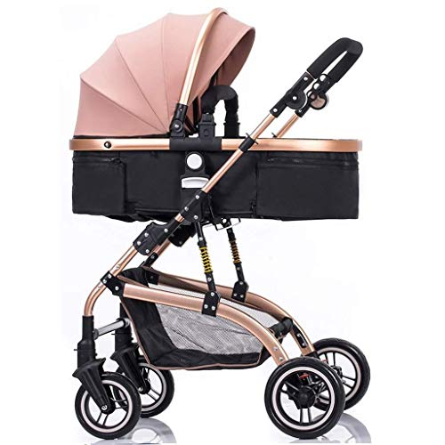 659874555 JFDKDH City Four Rounds Bidirectional Prams,fold Baby Pushchairs Travel Systems High Landscape Toddlers Newborn Strollers Can Sit and Lie Down from Birth (Color : Pink)