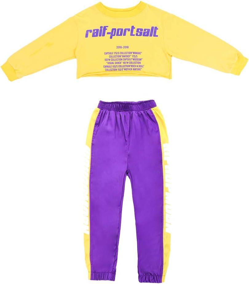 Voleseni Girls Children Modern Jazz Hip-Hop Dancewear Kids Dance Paty Costumes Top/&Pants