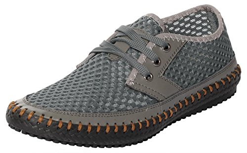 UJoowalk Mens Stylish Hiking Driving Travling Mesh Water Shoes (10 D(M) US, Gray)