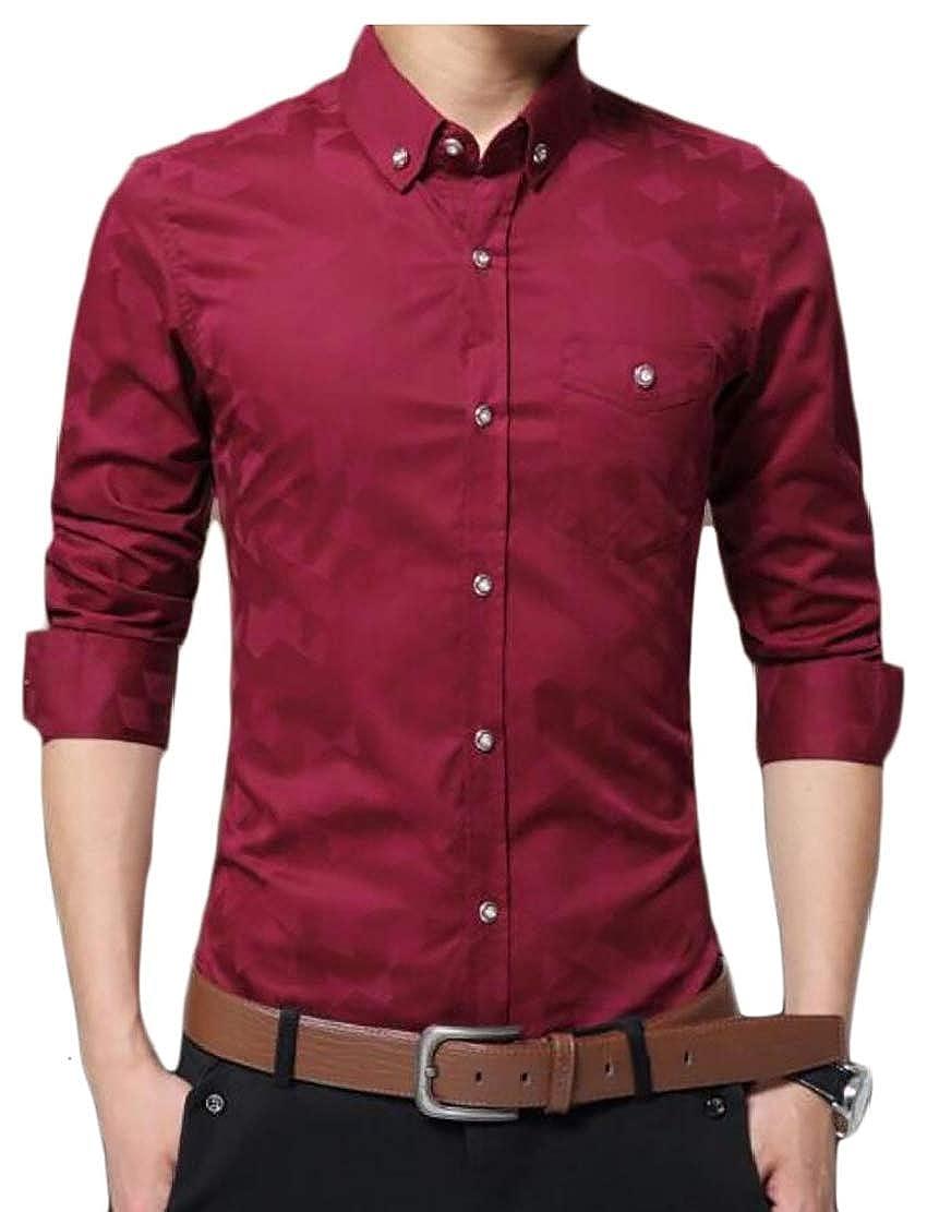 xiaohuoban Mens Solid Slim Fit Casual Button Down Shirt Long Sleeve Print Dress Shirts